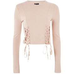Topshop Lace Up Long Sleeve Top ($30) ❤ liked on Polyvore featuring tops, topshop, nude, corset style tops, pink top, pink long sleeve top, lace up front top and laced tops