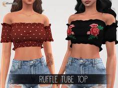 The Sims 4 Elliesimple - Ruffle Tube Top Sims 4 Mm Cc, Sims Four, Sims 4 Mods Clothes, Sims 4 Clothing, Cc Top, Sims 4 Tattoos, Sims 4 Pets, Sims 4 Dresses, Sims 4 Outfits