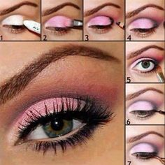 Make up tips .. How to create a pastel smokey pink step by step .. You can do this with any pastel eyeshadow
