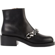 Givenchy Women's Laura Chain-Link Ankle Boots ($1,395) ❤ liked on Polyvore featuring shoes, boots, ankle booties, ankle boots, black, black bootie, black platform boots, platform booties and leather booties