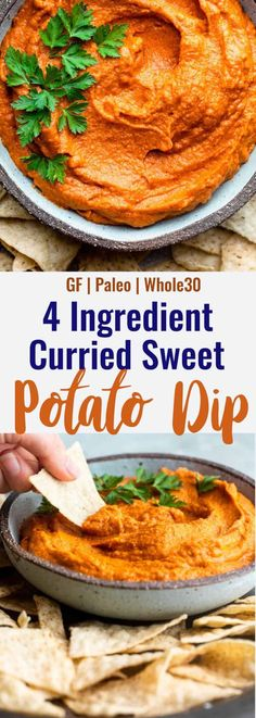 This smooth and healthy Curry Sweet Potato Almond Butter Dip has only 5 ingredients and is sure to jazz up any dip-ables with major flavor!   #FoodFaithFitness   #healthydip #bigflavor #sweetpotato #almondbutter #curry Whole 30 Recipes, Dip Recipes, Snack Recipes, Yummy Recipes, Free Recipes, Healthy Recipes, Sweet Potato Dip, Salad With Sweet Potato, Small Food Processor