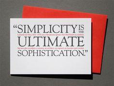 Leonardo Da Vinci quote letterpress greeting card