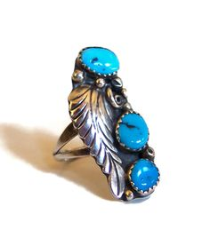Sale! 50% off List Price Given at Checkout.   Womans Navajo High Quality Sterling Silver Turquoise Ring