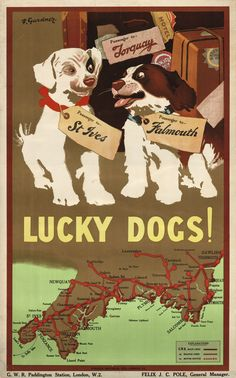 Trademark Global Vintage Apple Collection 'Lucky Dogs' Canvas Art - 22 x 32 Train Posters, Railway Posters, Posters Uk, Canvas Prints, Art Prints, Train Travel, Bus Travel, Travel Wall, Travel Posters