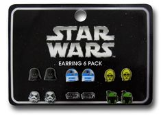 This Star Wars 6-Pair Earring Set makes a nice Christmas gift for the geek girl who wants some Star Wars characters on her ears. And why get her one pair when you can get 6 pairs? This earring Set features Darth Vader, R2-D2, C-3PO,