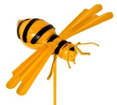 "Bumble Bee Metal Garden Stake by H & K Steel Sculptures. $33.95. Brighten up your yard with this H&K steel garden sculpture. This fun Bumble Bee garden stake is sure to add color to your yard. Size: 33"" tall"