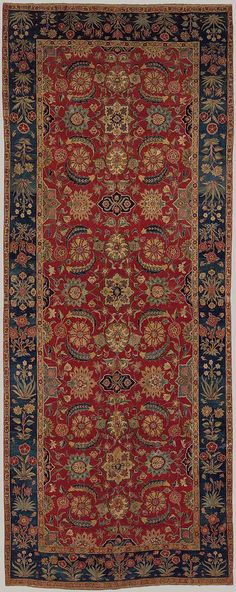 Carpet with scrolling vines and blossoms, Mughal period ca. 1650 Northern India or Pakistan, Kashmir or Lahore Silk (warp and weft), pashmina wool (pile); 66 in. Shag Carpet, Blue Carpet, Carpet Colors, Rugs On Carpet, Hotel Carpet, Dark Carpet, Textured Carpet, Patterned Carpet, Textiles