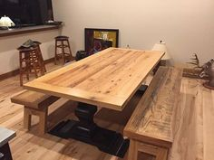 Custom Ash And Oak Wood Farm Dining Table