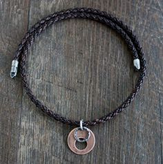 Men's Leather Braid Necklace with Copper Silver Ring Pendant