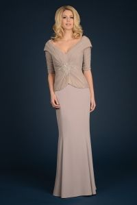 Vera's Ladies Apparel + Daymor Couture Daymor Couture neutral evening wear mother-of wedding dress with sleeves | As seen on TodaysBride.com