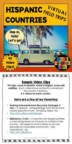 Make Hispanic culture come alive by traveling the globe virtually with your students to all 21 Spanish speaking countries. This collection of links to 90 video clips are perfect for teaching authentic culture and for Spanish listening practice (accents and people from all over the world). Great for Hispanic Heritage Month or for teaching culture all year long!