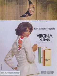 1977 Virginia Slims Cigarette Ad You've Come A by AdVintageCom