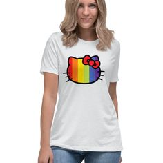 Hello Kitty Rainbow Stripe Officially Licensed Sanrio Hello Kitty Apparel Hello Kitty T Shirt, Sanrio Hello Kitty, Stripes Design, Sweater Hoodie, Rainbow, Hoodies, Sweaters, Shirts, Color