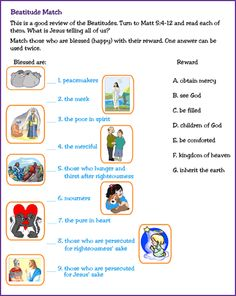 the beatitudes for children | Match Pictures to Learn the Beatitudes - Kids Korner - BibleWise