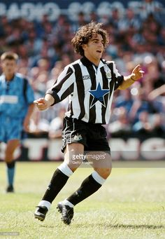 Niki Papavasiliou of Newcastle United in action during a Pre Season Friendly against Hartlepool at Victoria Park on July 24 1993 in Hartlepool. Newcastle United Football, Rangers Fc, Black N White, Soccer, Action, Seasons, Army, July 24, Sports