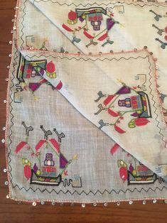 Rare Antique Ottoman-Turkish Silk & Hand Embroidery Square Cevre Ship Motif