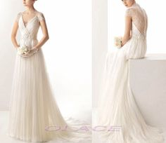 Sexy V Neckline Summer Beach Wedding Dresses with Lace by OLACE, $199.00