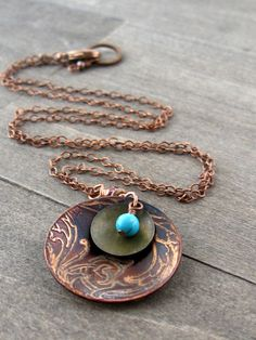 Etched copper necklace etched copper and by southwinddesign, $28.00