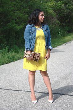 Yellow Lace Dress + Denim Jacket + Leopard Clutch + White Heels