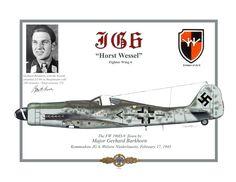 "FW 190 D9 pilotato dal Maggiore Gerhard Barkhorn (Vittorie totali 276), Kommodore dello JG 6 ""Horst Wessel"", Welzow - Niederlausitz, 17 febbraio 1945."
