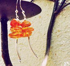 SALE Natural Amber & Sterling Silver Earrings by allthingsbarbara