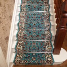 Light Blue Stair Carpet Runner - Persian - Carpet Runners UK