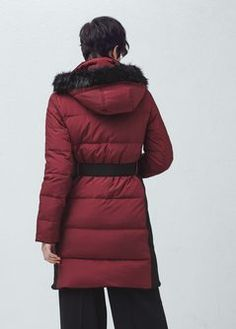 new Mango Quilted feather coat