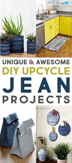 Unique and Fantastic DIY Upcycle Jean Projects The Cottage Market One # cottage . Unique and Fantastic DIY Upcycle Jean Projects The Cottage Market One # cottage Jean Crafts, Denim Crafts, Upcycled Crafts, Diy Upcycling Projects, Diy Projects Recycled, Repurposed, Recycled Art, Upcycled Vintage, Recycler Diy