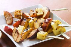 A creamy blend of  poppyseed dressing and Greek-style honey yogurt makes a luscious dipping sauce for these grilled fruit kabobs.