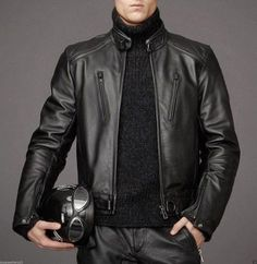 Leather Skin Men Black Authentic Cow Skin Biker Motorcycle Leather Jacket sold by Lajuria. Shop more products from Lajuria on Storenvy, the home of independent small businesses all over the world. Black Leather Motorcycle Jacket, Lambskin Leather Jacket, Leather Skin, Biker Leather, Leather Blazer, Motorcycle Men, Leather Jackets For Men, Motorcycle Style, Motorcycle Outfit