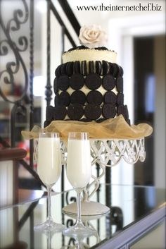 """Meet the """"Oreo Wedding Cake"""" with a champagne flutes of milk of course ;)"""