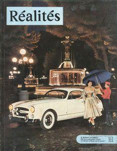 Salon de l'automobile: la Comète devant les fontaines de la place du Théâtre-Français (photo Jean-Philippe Charbonnier)  - Réalités n°81, octobre 1952.