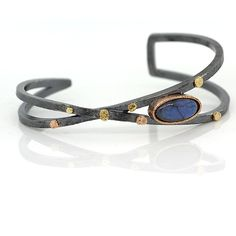 Criss-Cross Cuff Bracelet with Oval Labradorite by Rona Fisher: Gold, Silver…