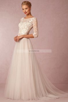 A-line Scoop Court Train 3/4-Length Sleeve Lace Wedding Dresses UK With Appliques Style l50512