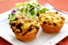 Barbecue Cups-hamburger meat, bbq sauce, cheese all in a biscuit cup.