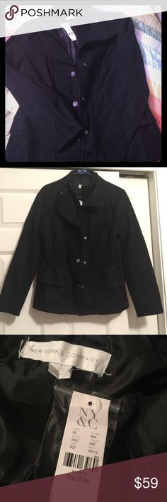 NWT New York & Company Coat NWT New York & Company Black cinch waist coat with zip and button closure.  Very flattering and stylish.  Never been worn. New York & Company Jackets & Coats