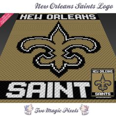 New Orleans Saints Logo crochet blanket pattern; c2c, cross stitch graph; pdf download; no written counts or row-by-row instructions by TwoMagicPixels, $3.99 USD