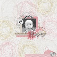 Lovely Little Sparkleheart Digital scrapbook page using Love Bundle