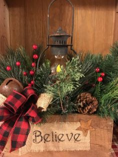 Believe Box Lantern Arrangement – The Drying Shed Blue Christmas Decor, Christmas Lanterns, Christmas Porch, Outdoor Christmas Decorations, Christmas Centerpieces, Primitive Christmas, Country Christmas, Christmas Holidays, Christmas Wreaths