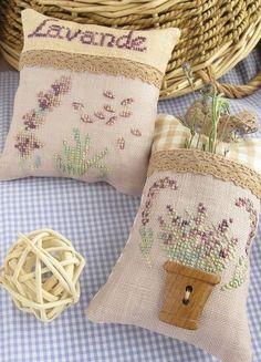 ♡lavanda - so delicate Lavender Wands, Lavender Crafts, Lavender Sachets, Scented Sachets, Cross Stitching, Cross Stitch Embroidery, Hand Embroidery, Cross Stitch Finishing, Cross Stitch Flowers