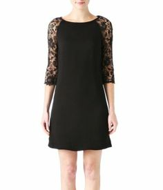 Lace-sleeved dress