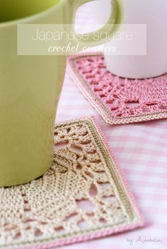 Japanese crochet square coasters, free pattern