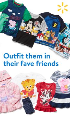 Up the adorable factor with character tees and dresses. Batman, Mickey, Peppa the Pig --Walmart's Character Shop is home to all of their favorite friends.