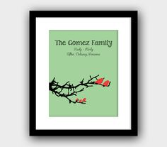 Custom Family Tree Branches with Birds