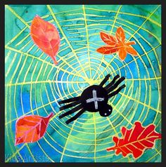 Kids Artists: Cool web, big spider - love cool colors used for background and tie in with Fall Autumn Crafts, Autumn Art, Kids Art Class, Art For Kids, 3 Kids, Big Spiders, Fall Art Projects, Liquid Watercolor, Watercolor Art