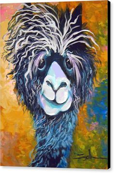 Alpaca Canvas Print featuring the painting Alpaca Punked by Patty Sjolin