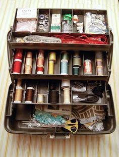 tackle boxes: I have always used tackle boxes for sewing storage and battery storage and make up.