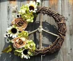 Peace Sign Wreath w/Blush PeoniesHydrangea & by ArtfullyYours1973