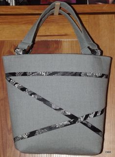 Grey Small Handbag with black criss-cross design by designsbyrebekah on Etsy