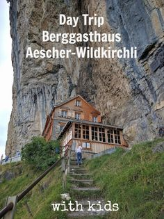 Take a family friendly day trip to hike and eat at Berggasthaus Aescher-Wildkirchli in the Appenzell region of Switzerland.